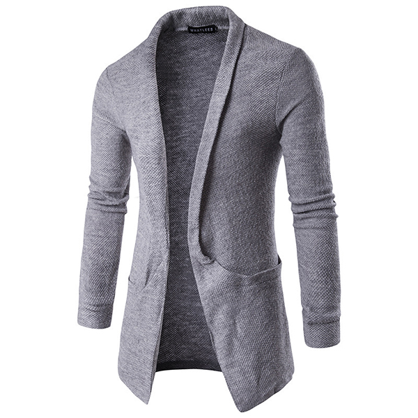Men's Casual Lapel Big Pocket Long Cardigan Sweater Fashion Warm Woolen Knitted Outwear