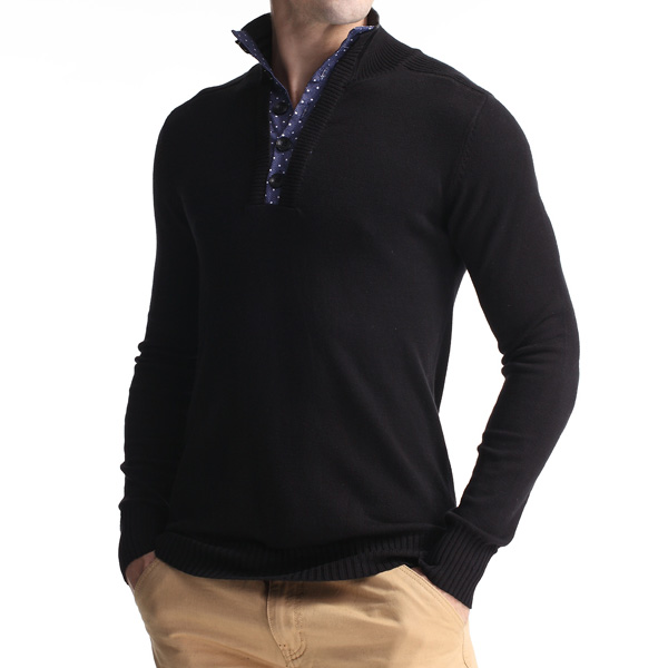 Mens Casual Knit Turn-down Collar Sweater Solid Color Bottoming Slim Long-sleeved Pullover