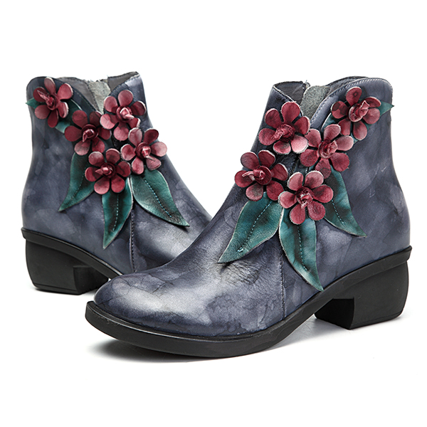 SOCOFY Genuine Leather Flower Leather Boots