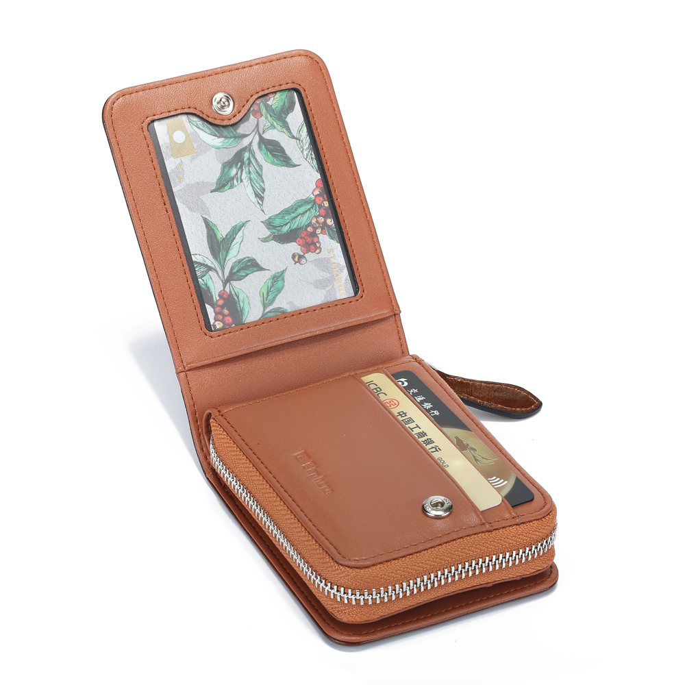Ekphero Men RFID 14 Slots Retro Oil Leather Short Wallet