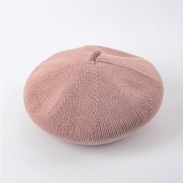 Fashion Women Beret Hat Knitted Cotton Beret Cap Solid Color Casual Pumpkin Painter Cap