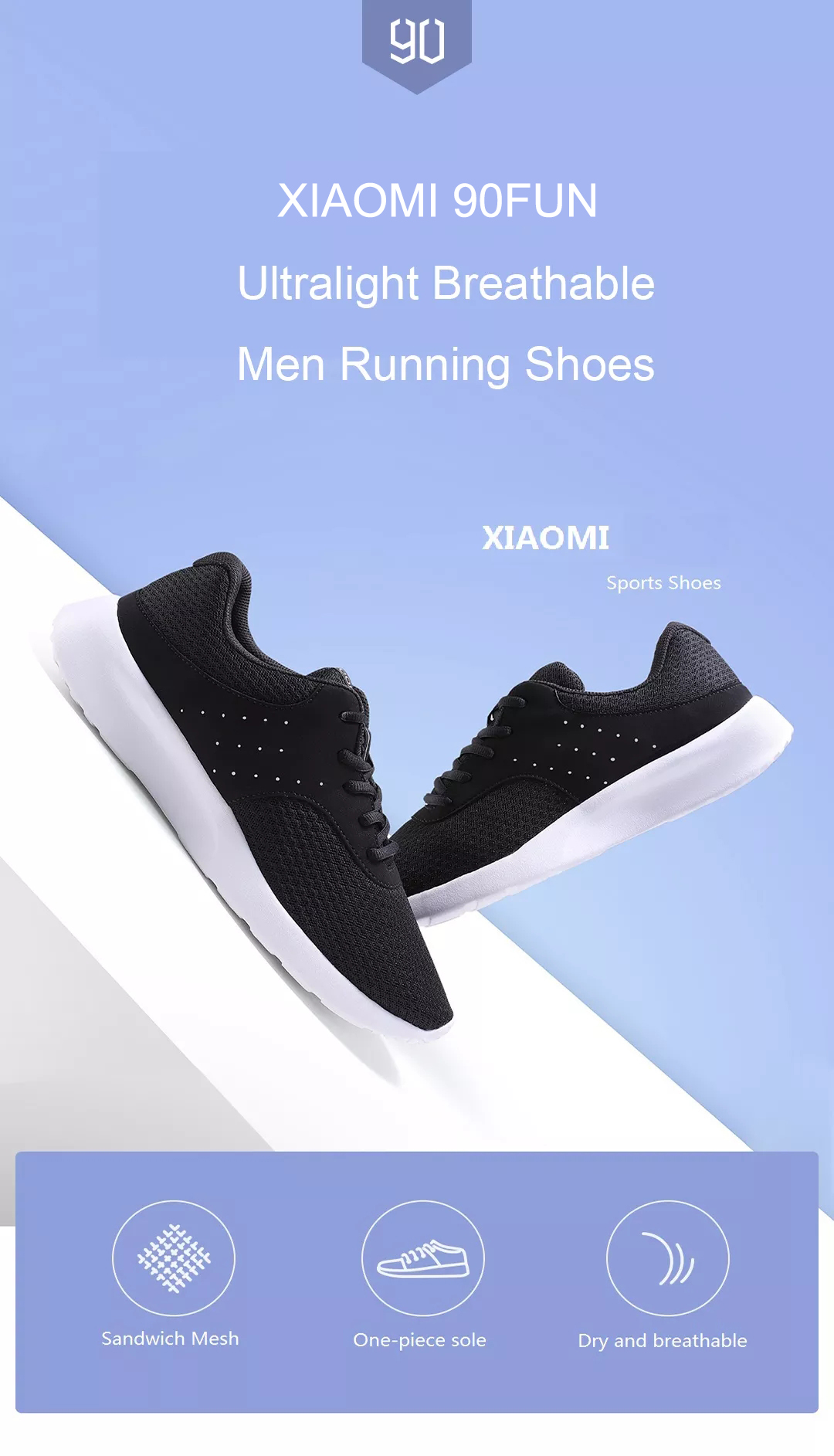 Xiaomi 90FUN Men Sneakers Outdoor Light Breathable Running Shoes Comfortable Soft Casual Sport Shoes