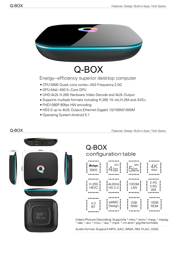 Sunvell Q-BOX 4K KODI 16.0 Pre-installed Android 5.1 Amlogic S905 2G DDR3 RAM 16G eMMC Flash ROM 2.4G+5G Dual Band WIFI 1000M LAN Bluetooth 4.0 TV Box Android Mini PC
