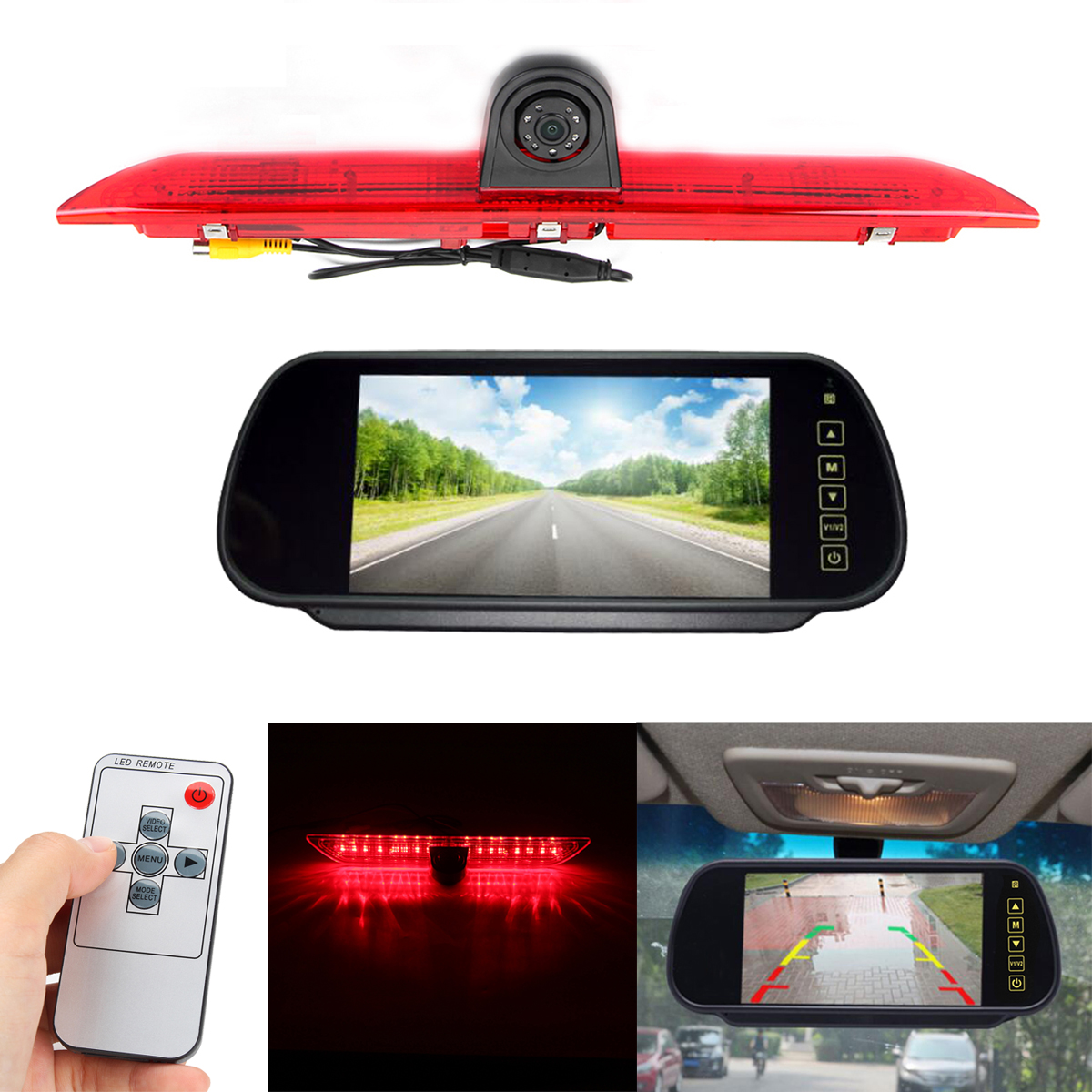 LED Brake Light Car Rear View Camera + 7 Inch Monitor Kit for Ford Transit