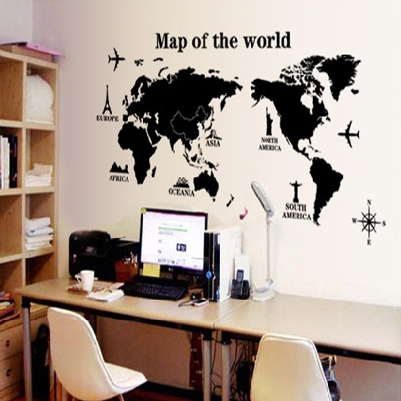 Removable Poster Letter World Map 3D Art Decor Vinyl Wall Sticker Living Room Office Decoration Wall Stickers Home Decor World Map Quote Scratch Vinyl Art Decals Mural Living Room Office Decoration