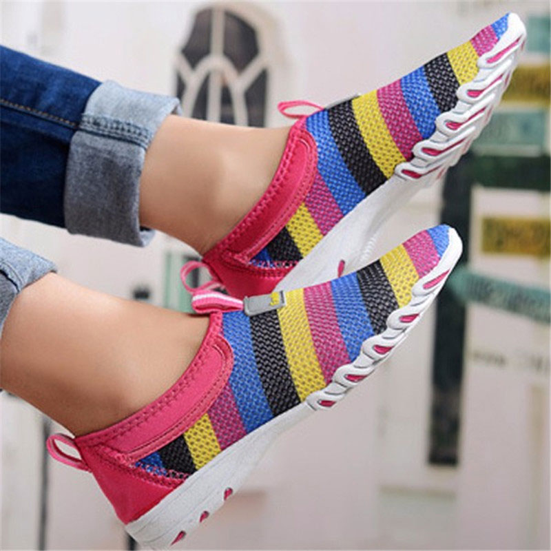 Women Casual Hollow Out Breathable Slip On Sneakers