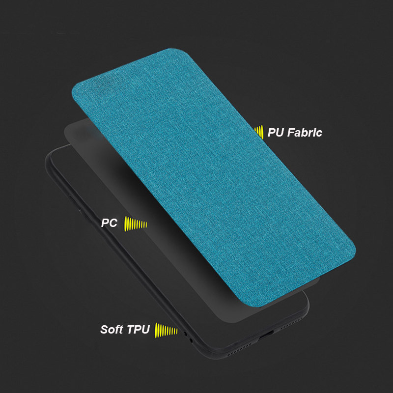Bakeey Fabric PC+PU Leather Back + Soft TPU Bumper Protective Case for Xiaomi Redmi Note 6 Pro