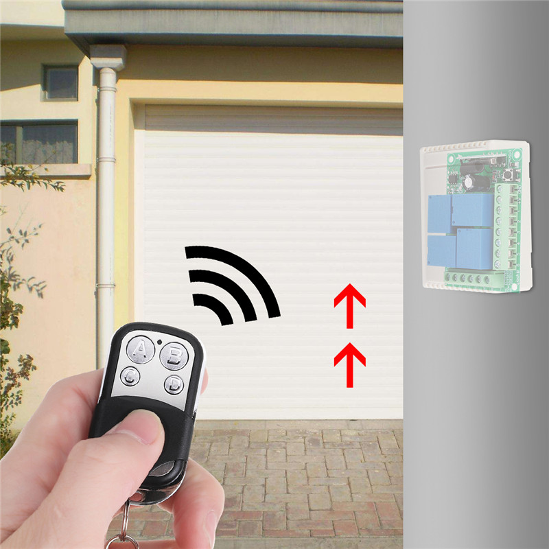 2pcs 12V 4 Way Button Wireless Remote Control Switch Relay Receiver Garage Shutter Door Access LED Light