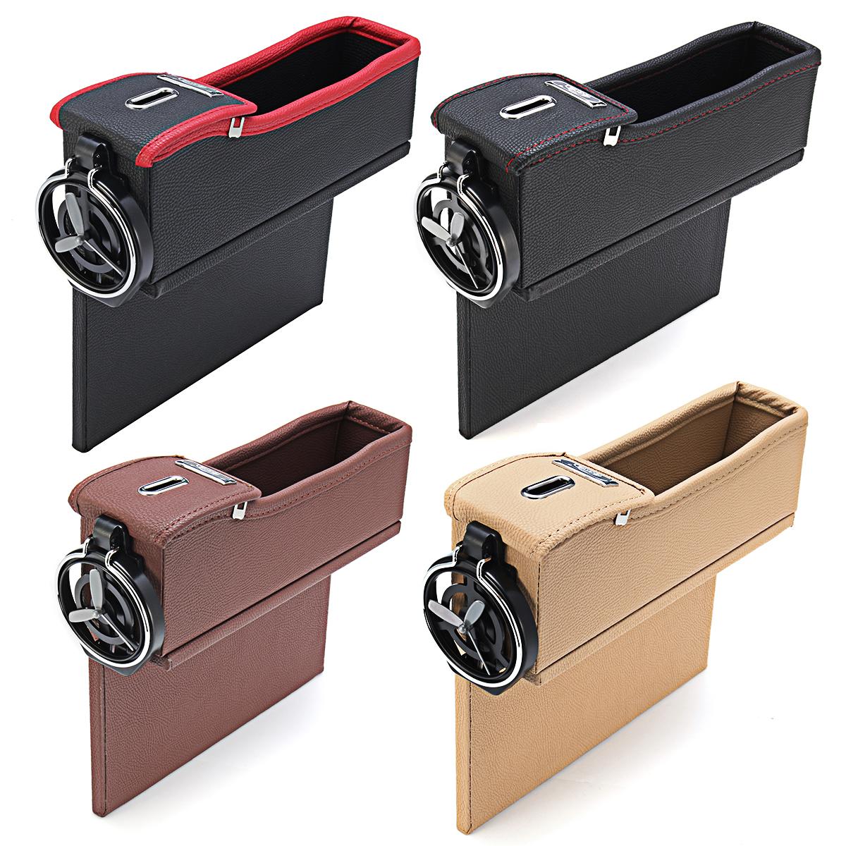 Leather Car Seat Crevice Storage Bag Box Money Pot Beverage Holder Car Seat Pocket Organizer