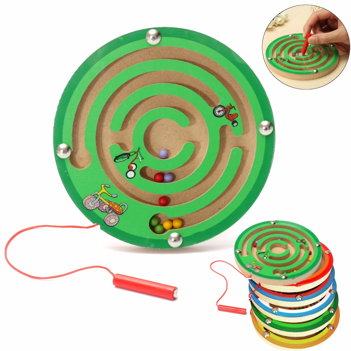 Round Wooden Puzzle Magnet Beads Slot Maze Board Game Educational Toys