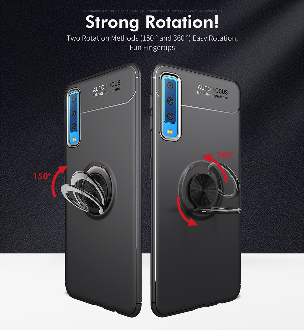 C-KU Protective Case For Samsung Galaxy A7 2018 360º Rotating Ring Grip Kicktand Back Cover