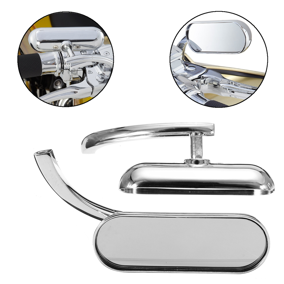 Motorcycle Sliver View Mirrors Mini Oval Left & Right Micro Rear For Harley Motor