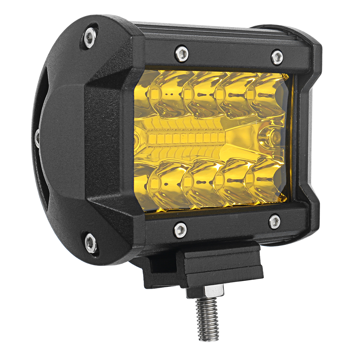 Pair DC 9-32V Yellow 4Inch Tri Row 20 LED Work Lights Bar Flood Spot Combo Lamp for Car Offroad SUV