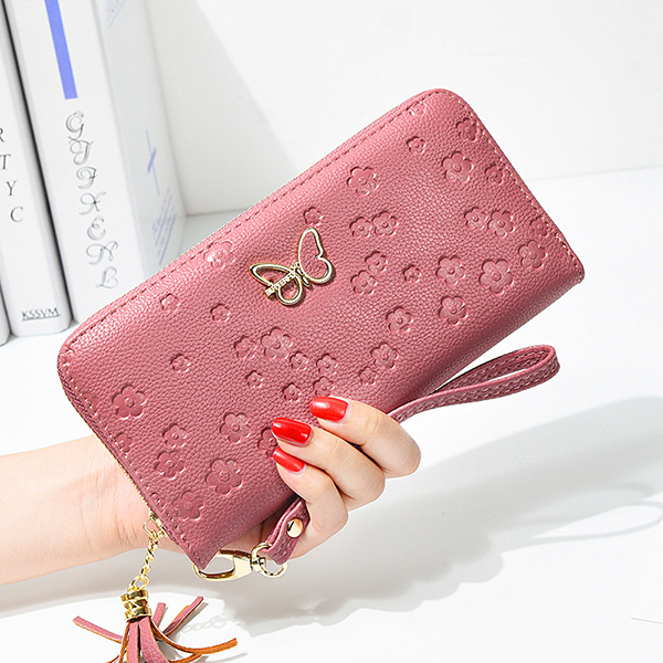 Women Faux Leather Butterfly Hollow Wallet Phone Bag