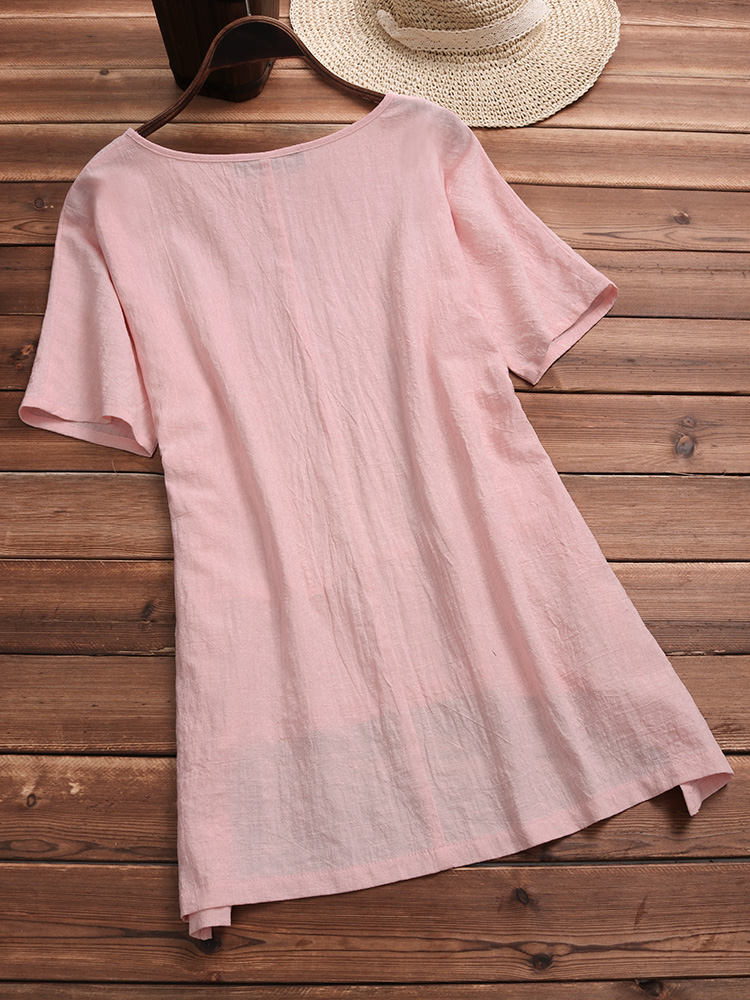 Casual Women Pure Color Short Sleeve Irregular Hem Blouse