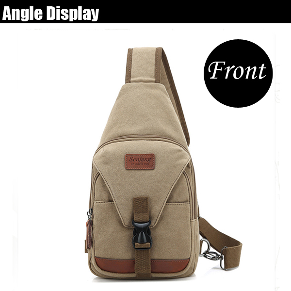 Men Canvas Multifunctional Fashion Sport Travel Chest Crossbody Bag