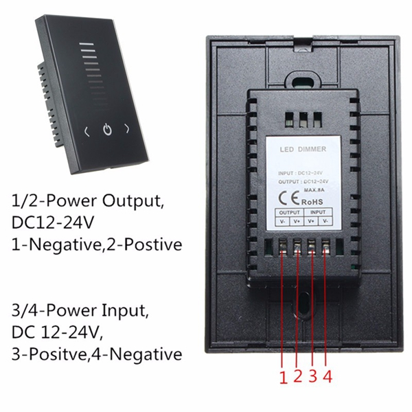 8A Touch Panel Controller Dimmer Wall Switch 12-24V For LED Strip Light Lamp