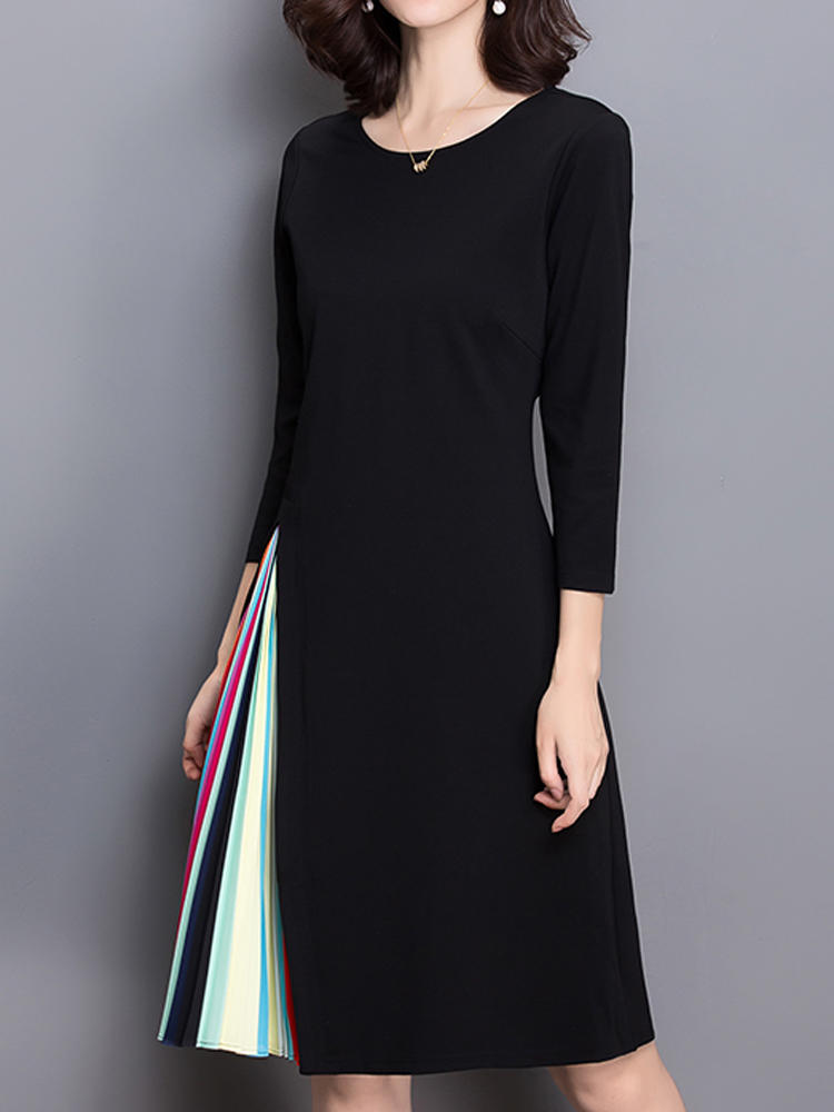 Elegant Women Rainbow Stripe Patchwork Three Quarter Sleeve O-Neck Dress