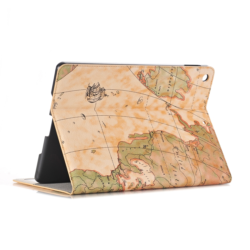 Map Pattern Wallet Card Slot Kickstand Tablet Case For New iPad 9.7 Inch 2017/iPad 9.7 Inch 2018