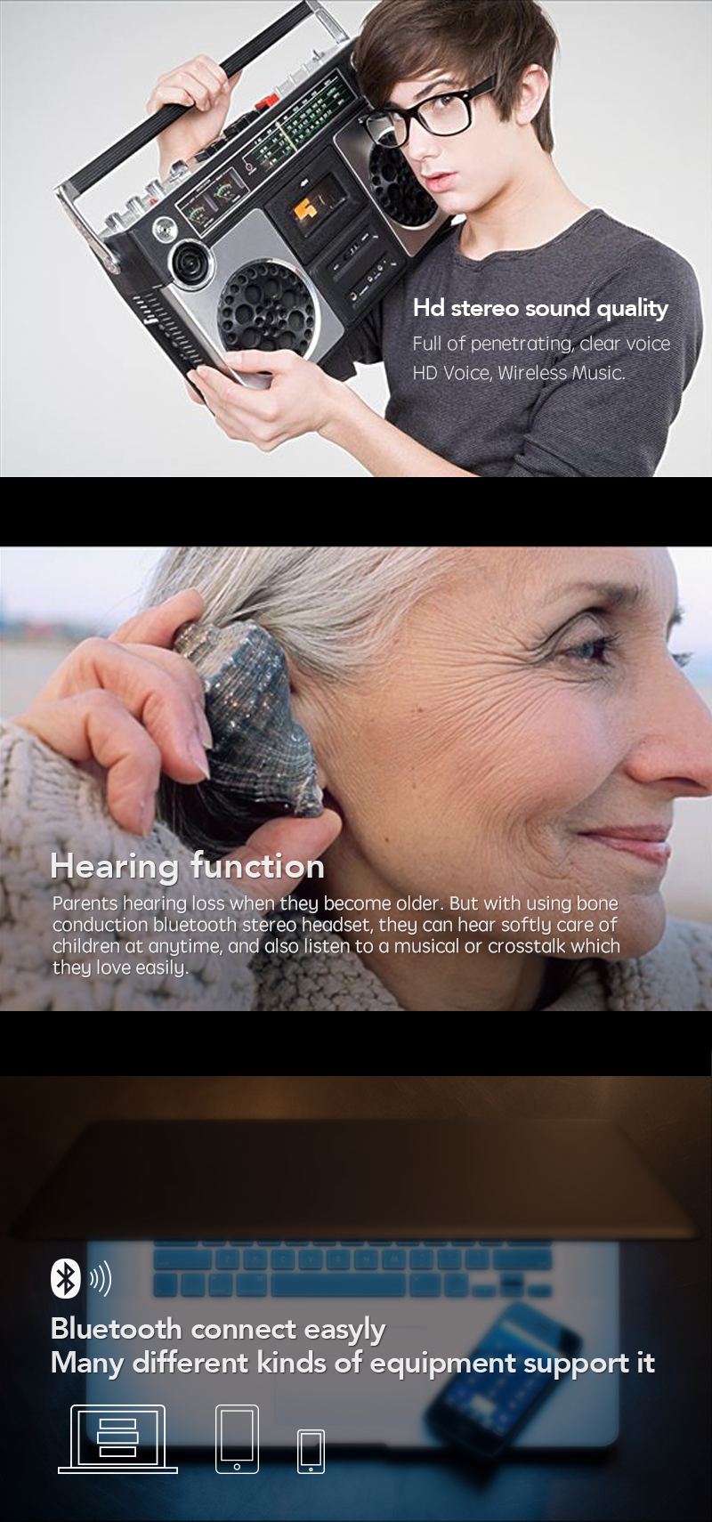 Smart Bone Conduction Wireless Bluetooth Stereo Ear Headset Outdoor Sports Music Earphone