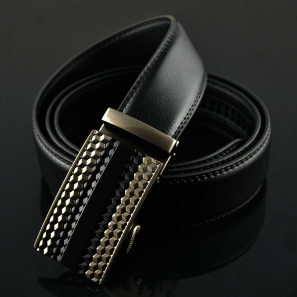130CM Mens Business Diamond Design Gentleman Automatic Buckle Waistband Strap Genuine Leather Belt
