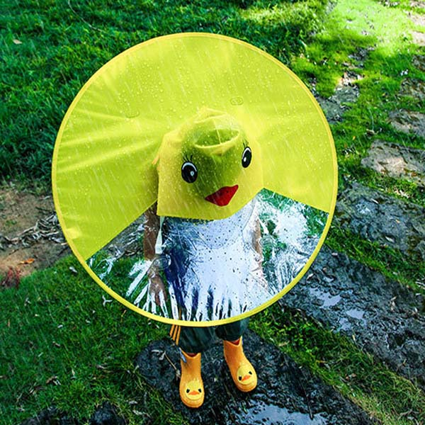 Foldable Children Kids Cape Raincoat Yellow Duck Poncho Hat Camping Shade Cover UFO Shape Umbrella