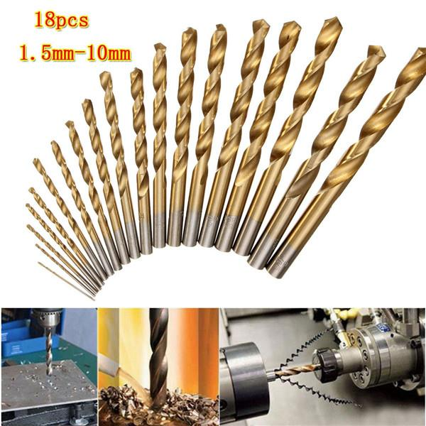 18pcs High Speed Steel Titanium Coated Twist Drill Bits 1.5mm-10mm HSS 4241 Twist Drill Bit