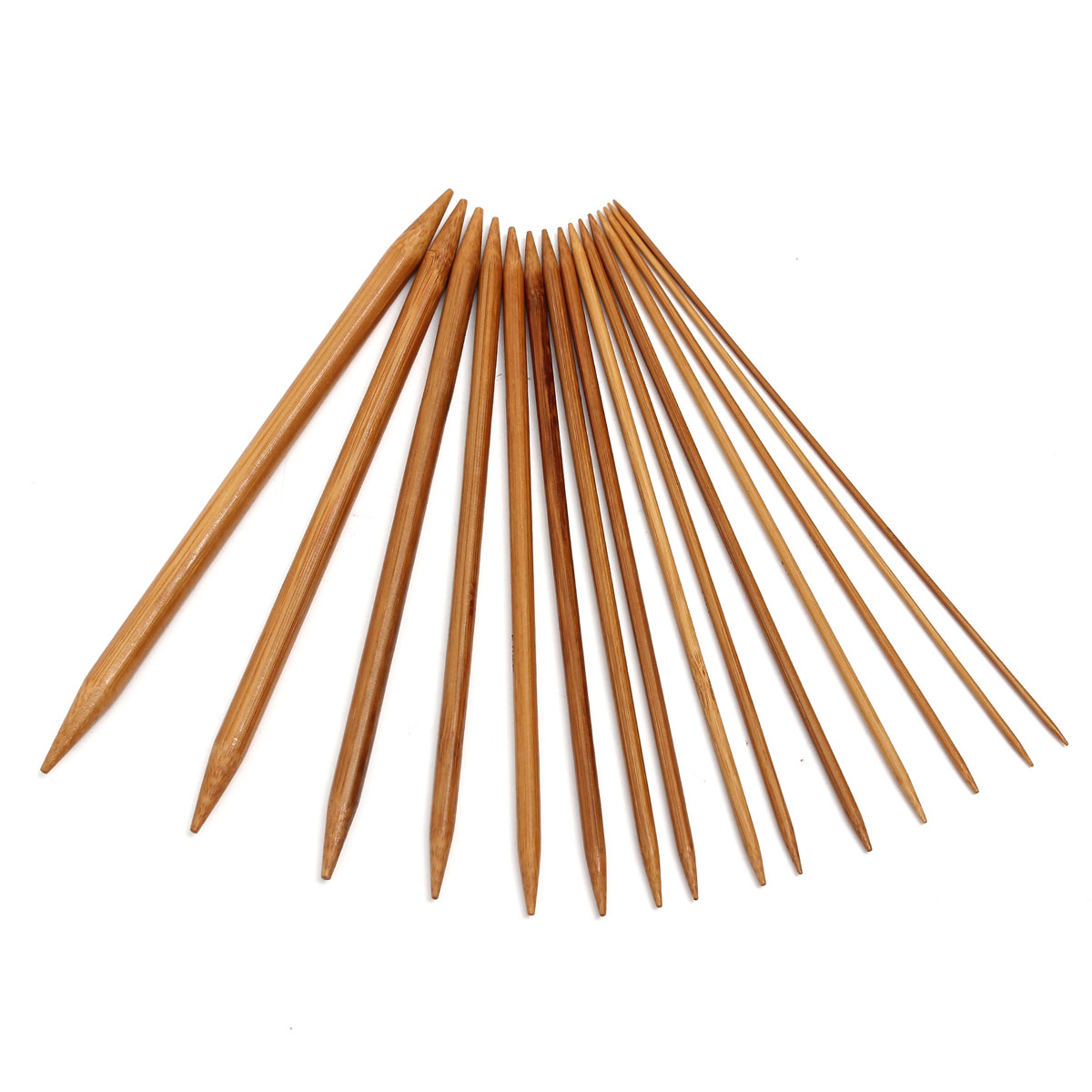 75pcs 15 Sizes Carbonized Bamboo Double Pointed Knitting Needles Hat Sweater Scarf Crochet Hook
