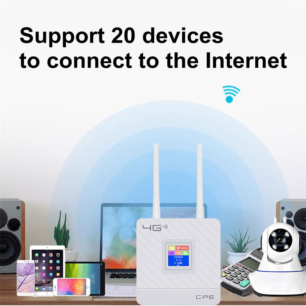 CPE Router 4G LTE Mobile WiFi Wireless Repeater Hotspot Sim Card WAN Modem Dual Support for 20 Users
