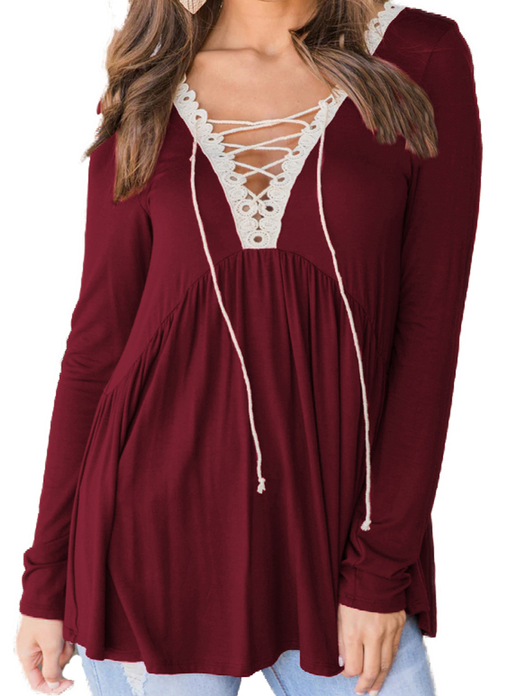 Women Casual Long Sleeve Lace Up Deep V Neck Blouse