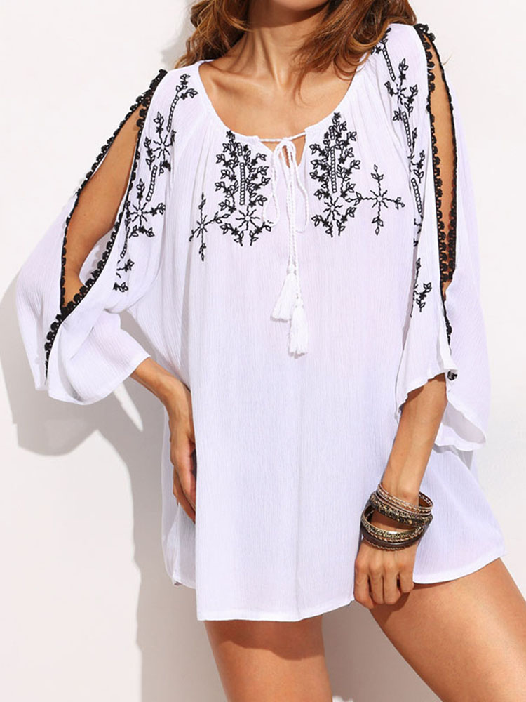 Casual Lace-Up Embroidered Split Bell Sleeve Loose Blouse For Women