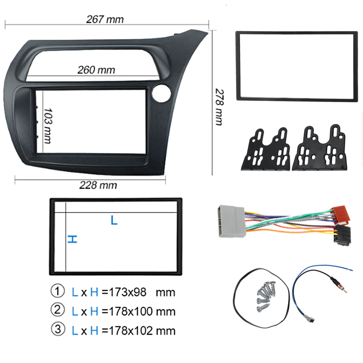 2 DIN Car Radio Fascia Automobile Refitting Sound Stereo Panel Kit For HONDA Civic 2006-2011