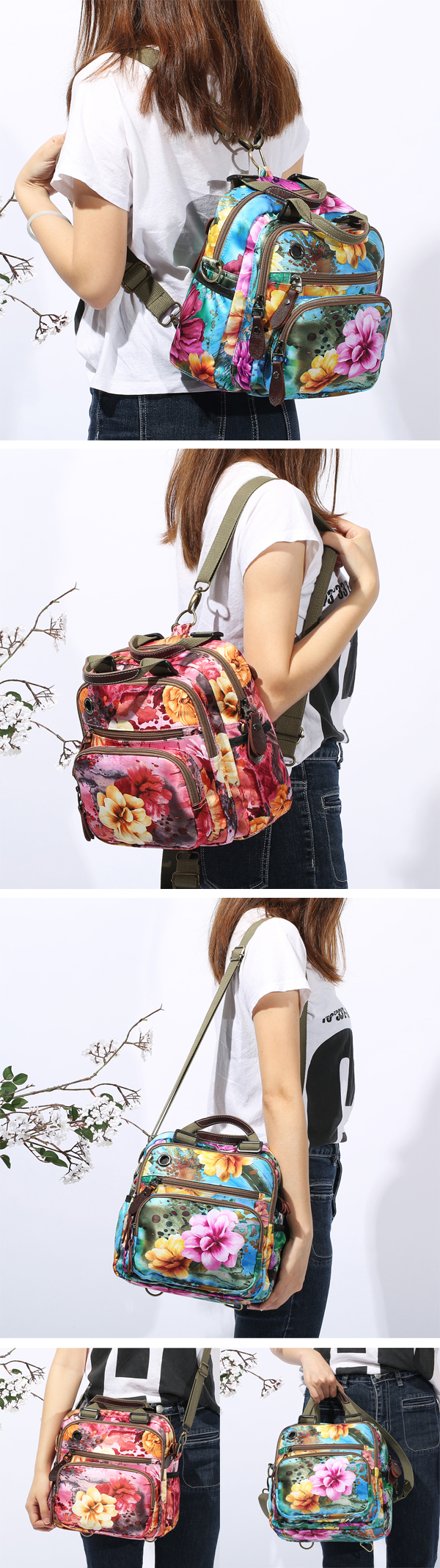National Style Outdoor Flower Pattern Shoulder Bag Crossbody