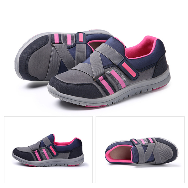 Soft Sole Hook & Loop Round Toe Breathable Health Sport Shoes
