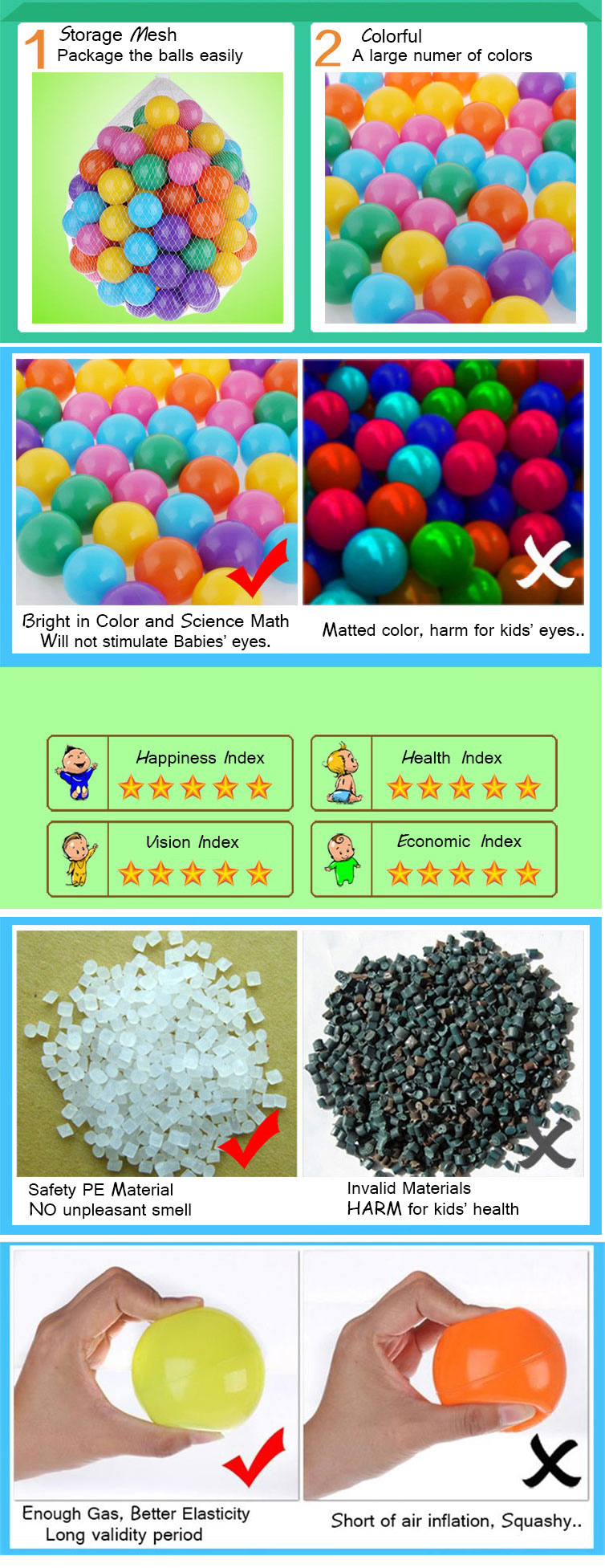Vvcare BC-SW017 100Pcs Children Ocean Ball Pool Colorful Plastic Swiming Ball Soft Pit Toys Mesh Bag