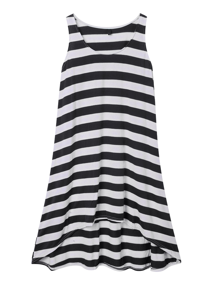 Casual Women Sleeveless Stripe Beach Irregular Hem Summer Sundress