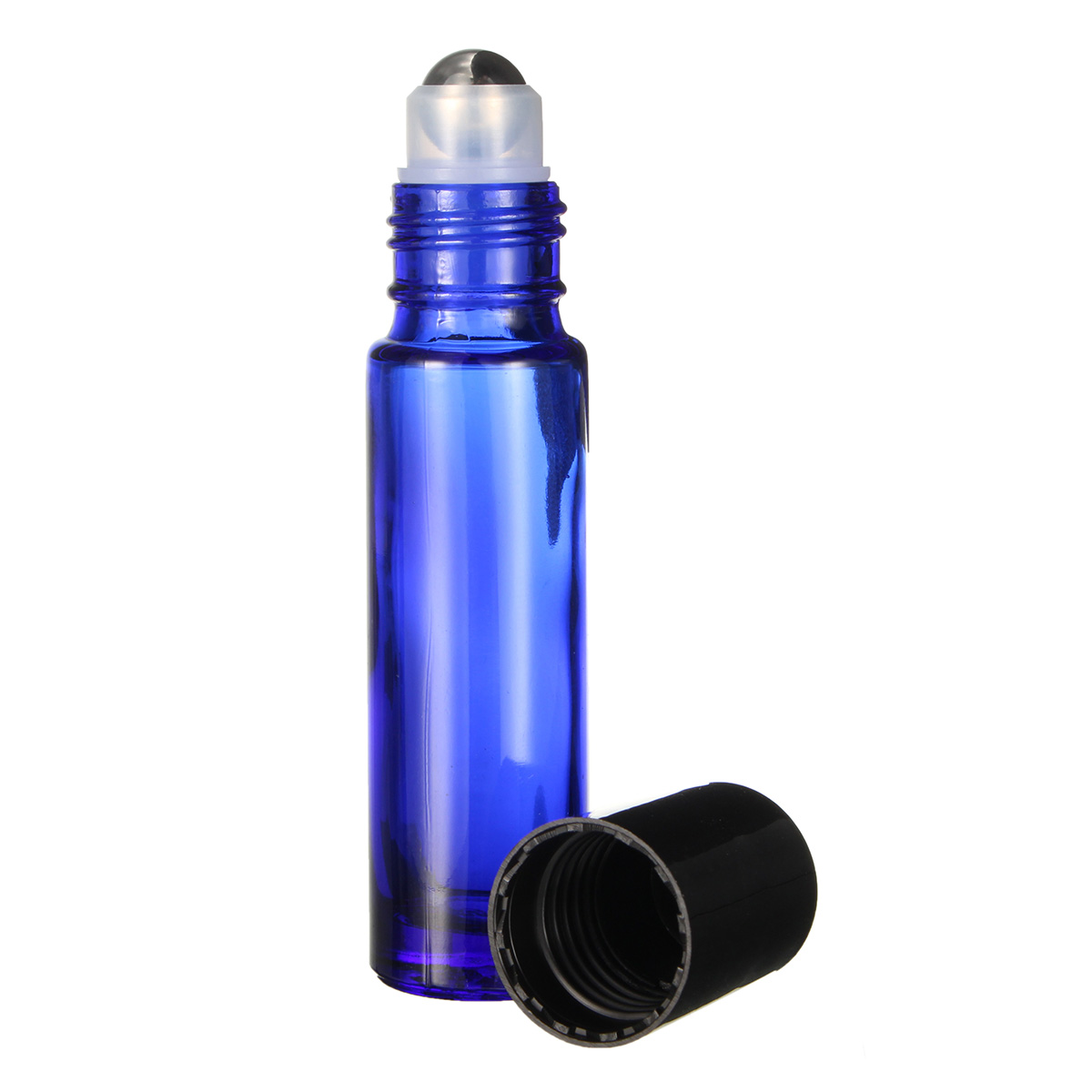 6Pcs 10mL Cobalt Blue Glass Roll on Essential Oil Bottle Refillable Steel Roller Ball with Droppers