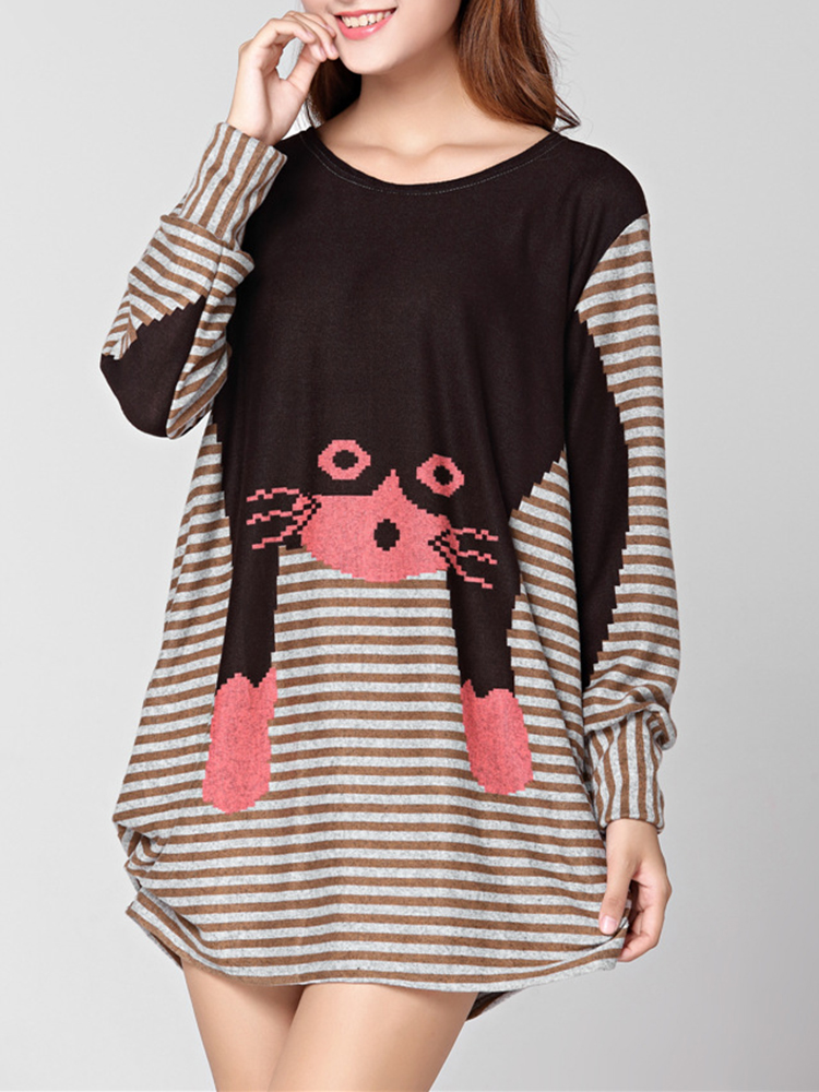 Plus Size Casual Women Cat Printed Long Sleeve Sweaters
