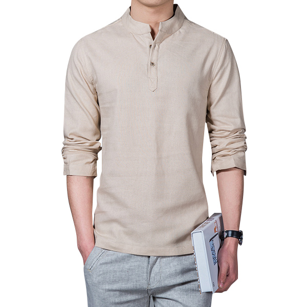 Chinese Style Linen Cotton Traditional Plain Color Shirts