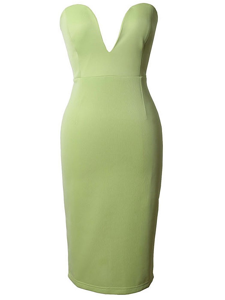 Sexy Women Deep V Neck Strapless Bodycon Clubwear Dress