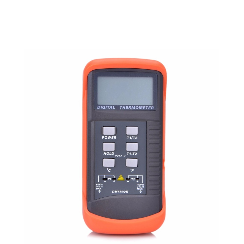 DM6802B Digital Thermometer Double Channels with K-type Thermocouple -50℃~1300℃ Data Hold Low Battery Indication Temperature Meter