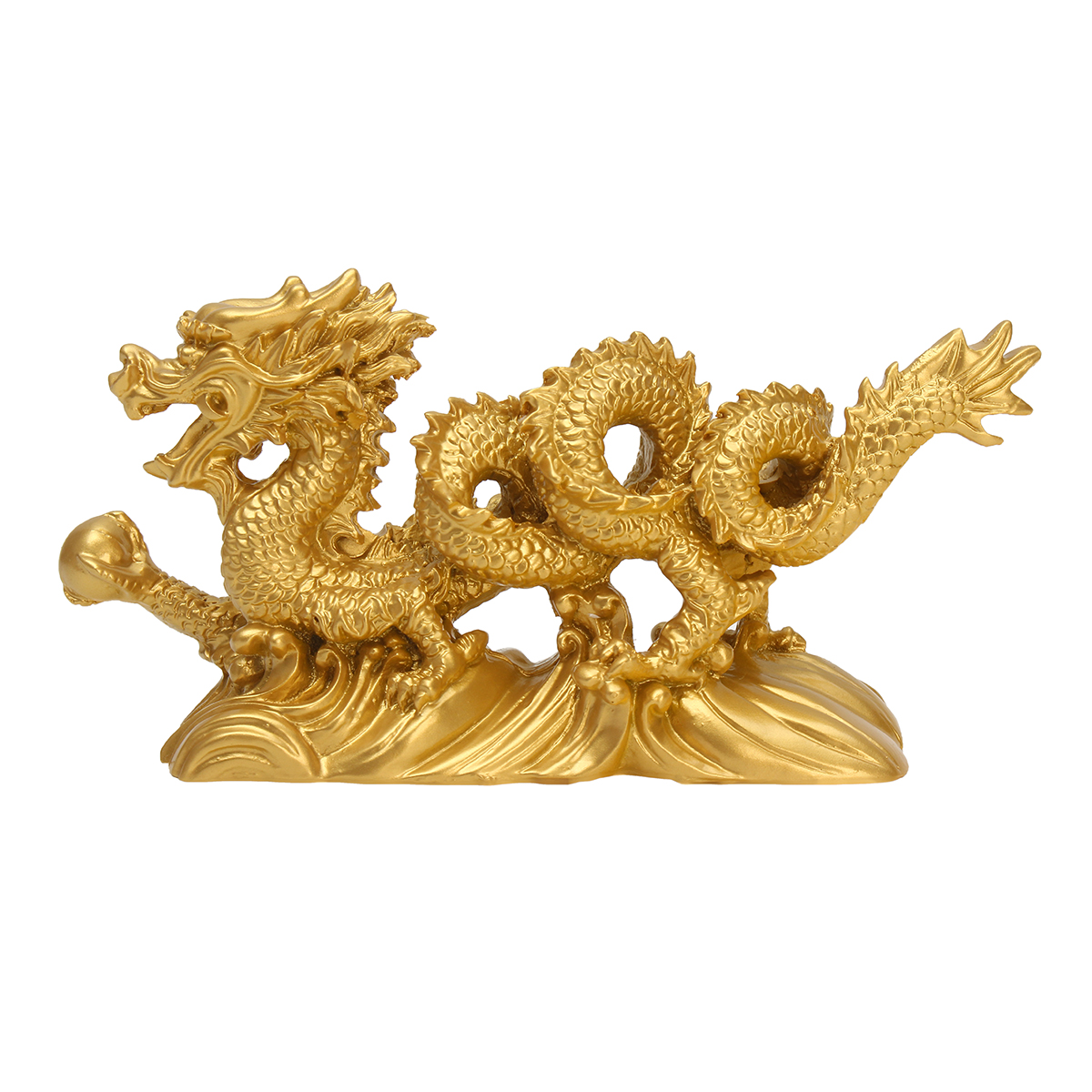 Resin Gold Dragon Figurine Statue Ornaments Chinese Geomancy Home Office Decoration