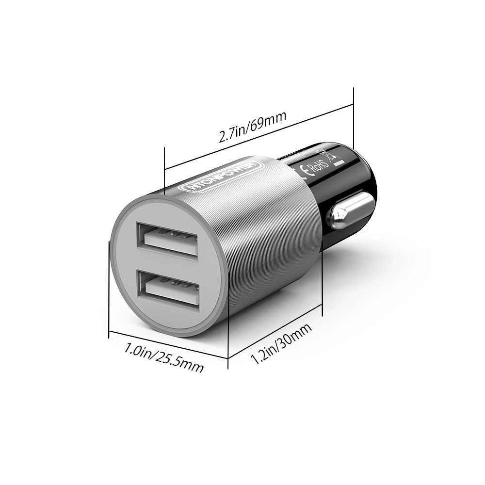 NTONPOWER Mini Portable Universal USB Car Charger Adapter DC 12V-24V Dual Ports 3A