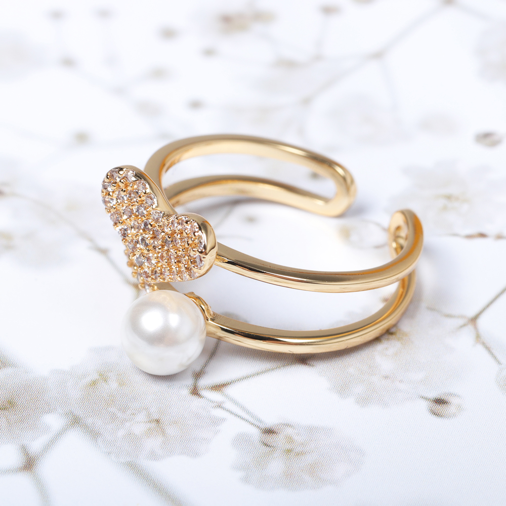 Fashion Open End Ring 18K Gold Plated Zirconia