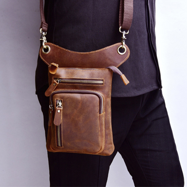 Multi-functional Vintage Genuine Leather Waist Bag