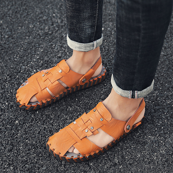 Men Summer Comfy Genuine Leather Two Way Wear Sandals