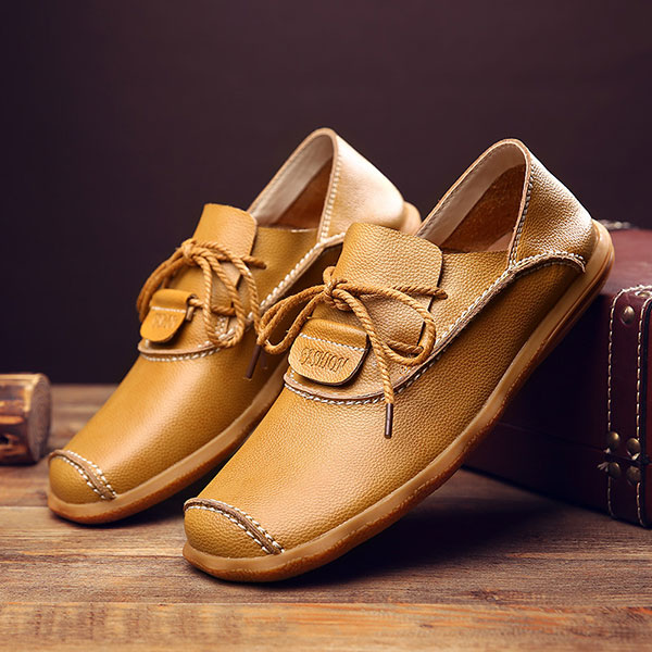Men Soft Genuine Leather Lace Up Oxfords