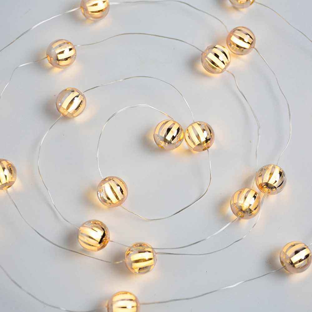2M Battery Powered Warm White 20LED Pumpkin Bulbs String Fairy Light for Party Wedding Holiday