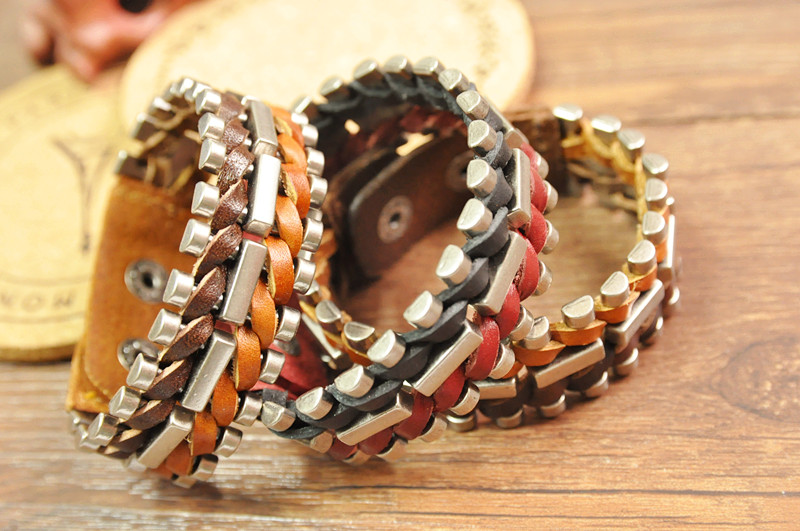 Vintage Unisex Leather Woven Geometry Multicolor Bracelet