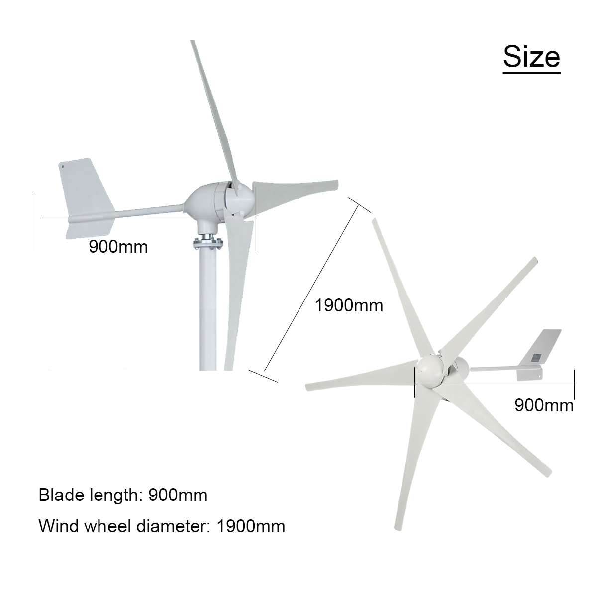 800W 24V/48V 3/5 Blade Small Horizontal Wind Turbine Wind Generator Power Supply Kit